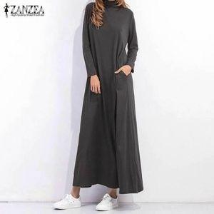 Zanzea Dark Gray TurtleneckKnit  Maxi Dress